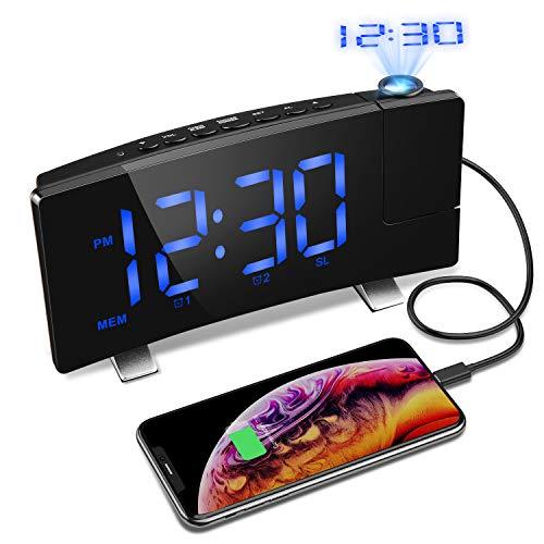 """Projektionswecker, OLICTAR Radiowecker mit Projektion, 7"""" Digitaler Wecker, Reisewecker, Tischuhr, Dual Alarm, 4 Einstellen Helligkeit, 15 Lautstärke, 9 ' Snooze, 120° Dreh-Projektor"""