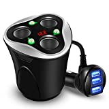 Cargador de Coche 3 USB Adaptador + 3 Sockets Encendedor de Cigarrillos Splitter 120W 12/24V con LED Voltaje Display Separado on/Off Interruptor Sostenedor de Taza para iPhone GPS & Dash CAM