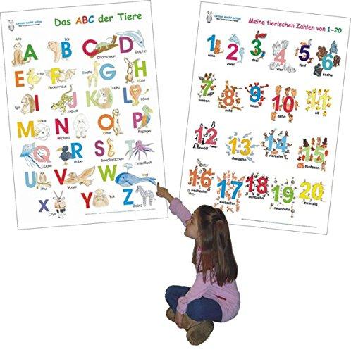 Das ABC der Tiere + Meine tierischen Zahlen von 1-20 im Set: 2 Lernposter 70 x 100 cm, gerollt, abwaschbar + UV-Lack beschichtet