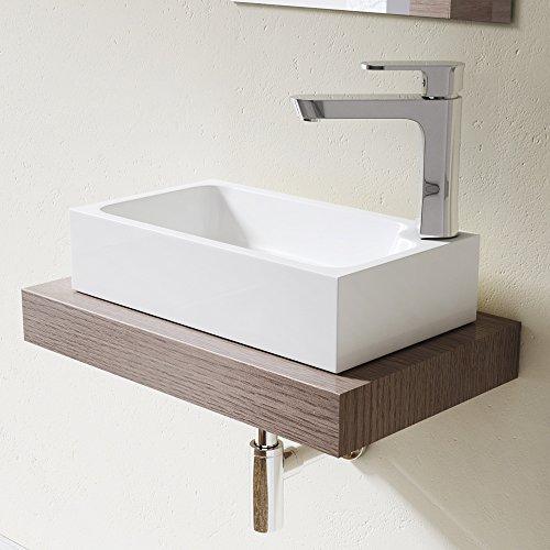 Sogood Lavabo vasque à poser évier fonte minérale Colossum 101, rectangulaire, blanc Larg 46 cm, prof 26 cm, haut 11 cm