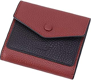 Itslife Women's Small Leather Wallet RFID Card Holder Mini Bifold Ladies Flat Pocket Purse Natural Wine Red