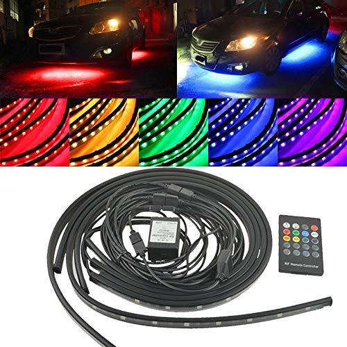 C-Funn 4 stuks RGB LED vloerlampen in de auto lichtslang kit neonlampen onder het licht met draadloze besturing