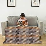 Manta asimétrica de franela de color crema y naranja, esponjosa, suave, acogedora, ligera, cálida manta de forro polar de franela para sofá de cama