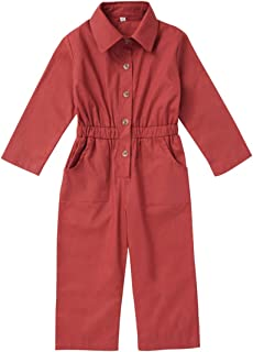 YOUNGER STAR Toddler Kid Baby Girls Fashion Lapel Fall Winter Long Sleeve Jumpsuit Clothes Overall Purple Pants Outfits 1-5 T