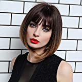 Altaba Straight Short Bob Wigs With Bangs Dark Brown To Golden Brown Shoulder Length Straight Synthetic Wig 12 Inch Natural Looking Daily Party Use for Women