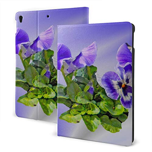 JIUCHUAN Ipad Kids Cover 2019 Ipad Air3/2017 Ipad Pro 10.5 Inch Case/2019 Ipad 7th 10.2 Inch Case Pansy Flower Spring Blossom Bloom Purple Small Ipad Cover Case Auto Wake/sleep