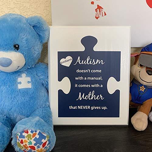 Ced454sy Gepersonaliseerde Autisme Puzzel Stuk Houten bord Plaque