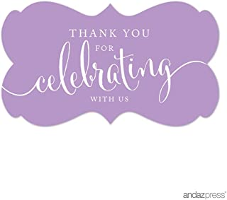 Andaz Press Fancy Frame Rectangular Label Stickers, Thank You for Celebrating With Us, Lavender, 36-Pack