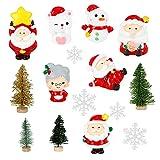 Juego de 15 adornos de Navidad en miniatura, decoración de Papá Noel y muñeco de nieve en miniaturas...