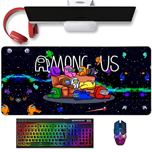 Benunit Po-Kemon Anime Mouse Pad,Desk Pad,RGB Gaming Mouse Pad with Stitched Edges,Non-Slip Long Soft Keyboard Mouse Pad Mat for Laptop Computer & PC