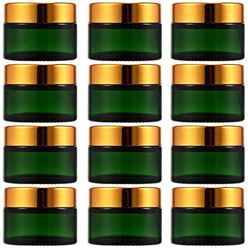 EXCEART 12 Tarros Pequeños Vacíos con Tapas Frascos de Vidrio Recargables Contenedores de Almacenamiento de Viaje Frascos para Crema Lociones Suministros Cosméticos (Verde)