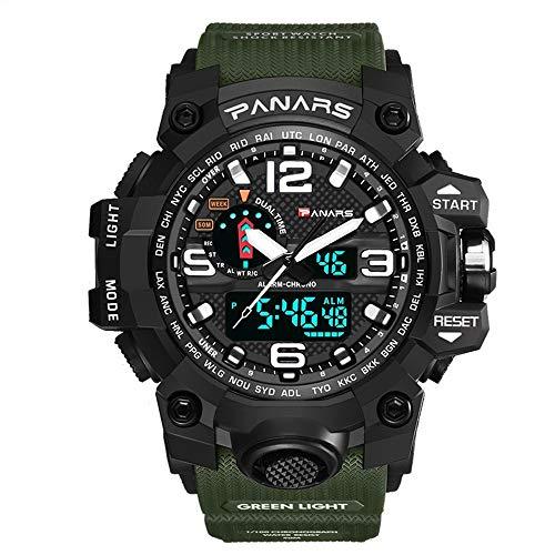 YHLZ Reloj de los deportes, reloj digital de los hombres, militar multifunción deportivo reloj resistente al agua 50M 12H / 24H reloj camuflaje moda electrónica de hora doble calendario de la alarma d