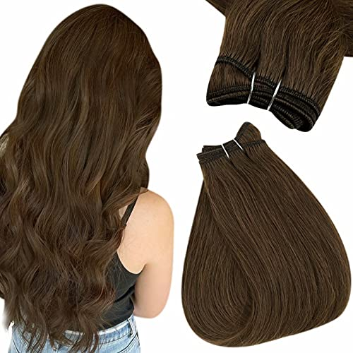 Easyouth Sew in Human Hair Extensions Color 4 Chocolate Brown Natural Hair Weft Extensions Double Weft Remi Hair Bundles Straight Hair for Women 18inch 100g