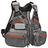 Bassdash FV09 Fly Fishing Vest for Youths Kids Adjustable Size with Multiple Pockets Trout Bass Fishing Gear (Grey/Chocolate)