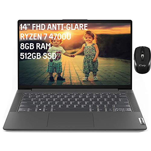 2020 Flagship Lenovo IdeaPad 5 14 Laptop 14' FHD Anti-Glare Display AMD 8-Core Ryzen 7 4700U (Beats i7-10510U) 8GB DDR4 512GB PCIe SSD Backlit FP Dolby Win 10 (Graphite Grey) + iCarp Wireless Mouse