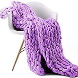 ZCXBHD Manta gruesa de hilo vegano, suave y cálida, para sofá, para silla, ropa de cama y siesta, decoración del hogar (color: morado, tamaño: 130 x 170 cm)