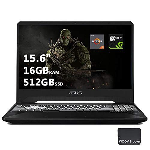 ASUS TUF FX505DT 15.6 Inch Full HD IPS Gaming Laptop, GeForce GTX 1650 4GB, AMD Ryzen 5 R5-3550H (Beat i7-7700HQ), 16GB DDR4, 512GB PCIe SSD, RGB Backlit Keyboard, Windows 10, Woov Sleeve