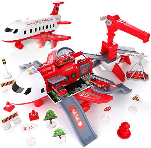 KIDWILL Car Toys Set with Transport Cargo Airplane Large Theme Airplane 4 Fire Fighting Vehicles product image