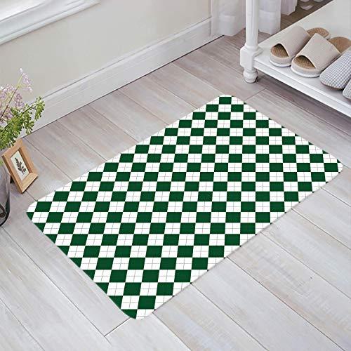 Alfombra estera del piso Tapetes Felpudo Día de San Patricio Azulejo de rombo blanco verde Textura a cuadros alfombras 40X60CM