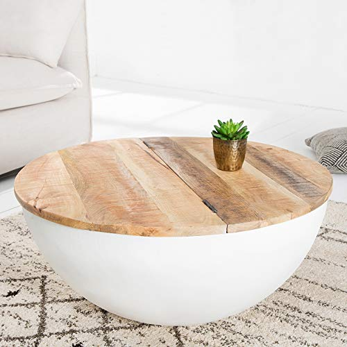 CAGÜ: Industriedesign Couchtisch [PULIM] Natur aus Mangoholz und Metallkorpus Weiß 70cm Ø