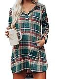 FOBEXISS Vestido casual con capucha y cordón para mujer con bolsillo tipo canguro a cuadros para mujer