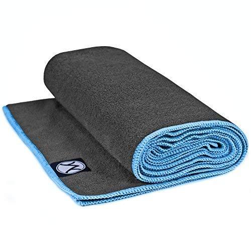 Yoga Towel 24' x 72' by Youphoria Yoga (Gray Towel / Blue Stitching) - Ultra Absorbent, Machine Washable Microfiber, Yoga Mat Length Towels