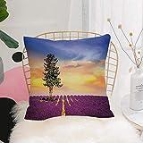 Purer Weicher Kissenbezug Kissenhülle Set,Lavendel, lila Felder mit Sonnenuntergang Himmel und...