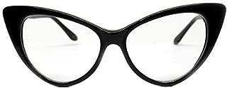 Vintage Cat Eye Clear Sunglasses Eyeglasses Womens Black E16