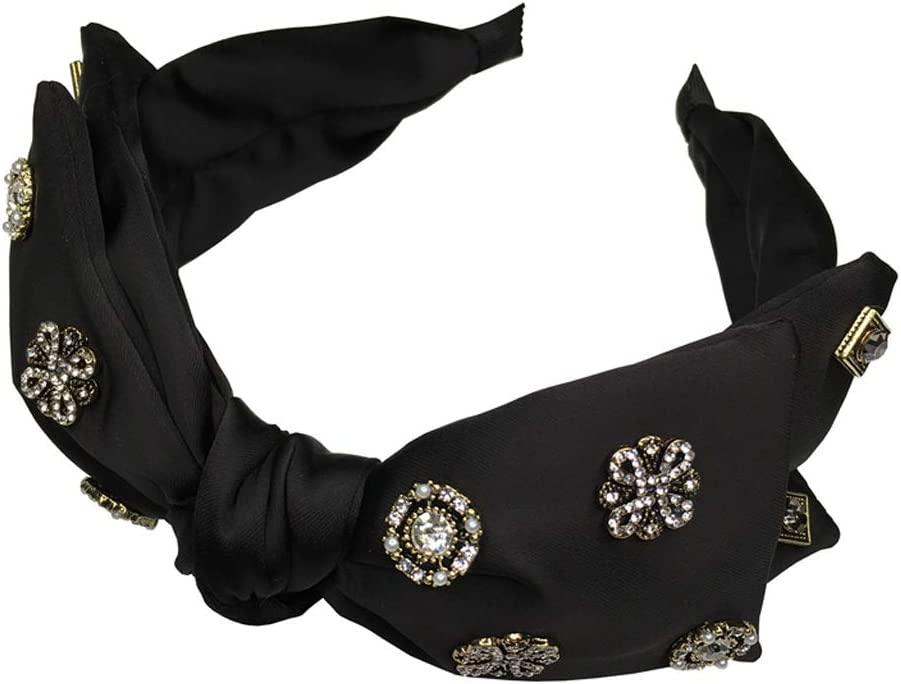 XJJZS Hair Band Big Bow Knot Black Wide-Brimmed Hairpin Press Hair Korean Rhinestone Inlaid with Drill Headband Simple and Versatile Out