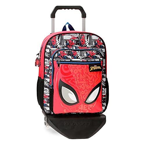 Marvel Spiderman Comic Mochila Escolar con Carro Rojo 27x38x11 cms Poliéster 13,68L