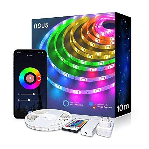 Nous F2 Tira LED 10m Smart WiFi LED RGB, regulable, autoadhesiva, Tuya, Smart Life Alexa Google Home, dispositivos compatibles con iluminación para ambientes húmedos, decoración de salas aestéticas