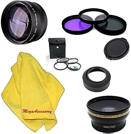 MegaAccessory 52mm .43x Wide Angle Lens with Macro 2.2x Telephoto and Filter Kit for NIKON D5300 D5200 D5100 D5000 D3300 D3200 D3100 D3000 D7100 D7000 DSLR Cameras with 52mm Diameter Lenses