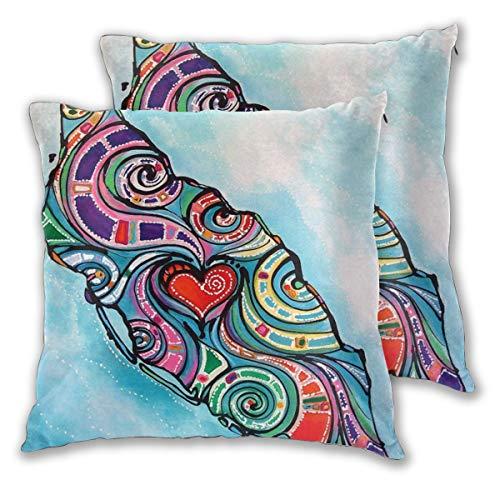 Nonebrand Aruba Love - Set di 2 federe per cuscini per divano, camera da letto, auto, 45,7 x 45,7 cm