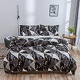 Ropa de cama de algodón, 3 piezas, 1 funda nórdica de 200 x 200 cm/220 x 240 cm y 2 fundas de almohada de 50 x 75 cm, suave y transpirable, 200 x 200 cm, color negro