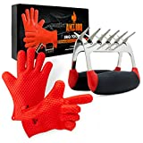 AMZ BBQ CLUB, BBQ Gloves and Metal Meat Claw Accessories with Heat-Resistant Silicone Glove and Meat Shredder (Red)