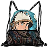 AZXGGV Drawstring Backpack Rucksack Shoulder Bags Gym Bag Sport Bag,Middle Aged Sapce Man Gesturing and Saying Ok Speech Bubble Space Themed Catroon