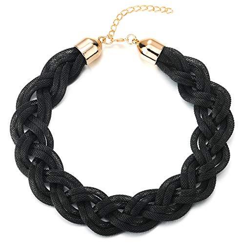 COOLSTEELANDBEYOND Schwarz Statement Halskette Anhänger, Geflochtene Hohl Kabel Große Lätzchen Halsband Choker, Neuer, Abschlussball