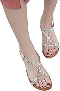 Women Open Toe Wedges Sandals, Ladies Fashion Casual Crystal Slip On Sandals Wedges Shoes