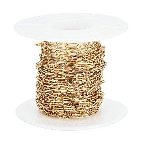 joyMerit Cadena de Oro para Hacer Joyas Cadena de Clip Chapada en Oro de 18 Quilates Cadena de Cable de Eslabones Ovalados para Hacer Joyas de Bricolaje Mujere