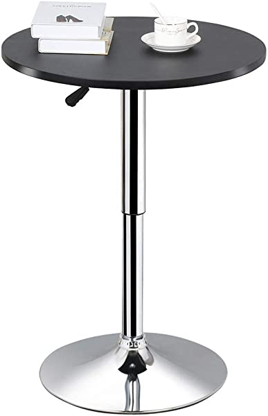 Topeakmart Adjustable Round Pub Table Counter Bar Height MDF Top Table 306 Swivel Bar Tables Tall Cocktail Tables Bistro Table