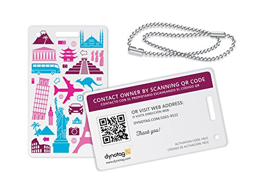 Dynotag Web/GPS ready to use QR Smart Fashion Luggage Tags - 2 Identical Tags+Chains (Memories)