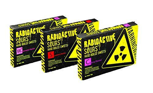 Radioactive Sours 3er Set - Mega-Extrem saure Süßigkeit - Super Sauer Sour Bonbons - Geschmacksrichtungen Wassermelone, Erdbeere, Kirsche - (3x100g)
