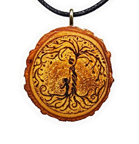 Baum des Lebens 24 Holz Hals-Kette - Mutter Tochter - Holzanhänger - Nachhaltig - Frauen - Halskette - Gravur - Yoga - Bedeutung - Geschenk - Natur-Schmuck - Damen - Frauen - Holzschmuck - Hippie