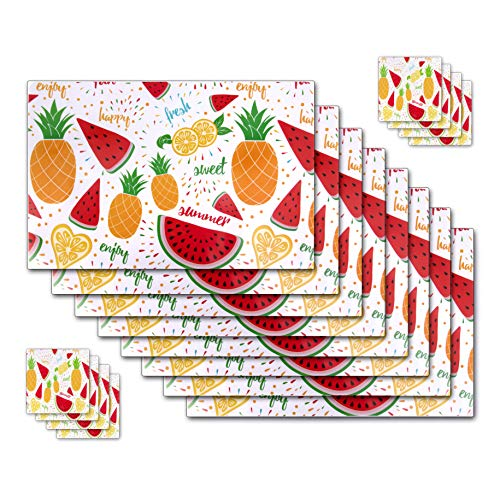 8 Rectangle Placemats with 8 Coasters - Colorful Fruits Pattern Place Mat for Kitchen Silverware, Plates, Drinkware for Dining Table Setting -  Jumping Stars USA