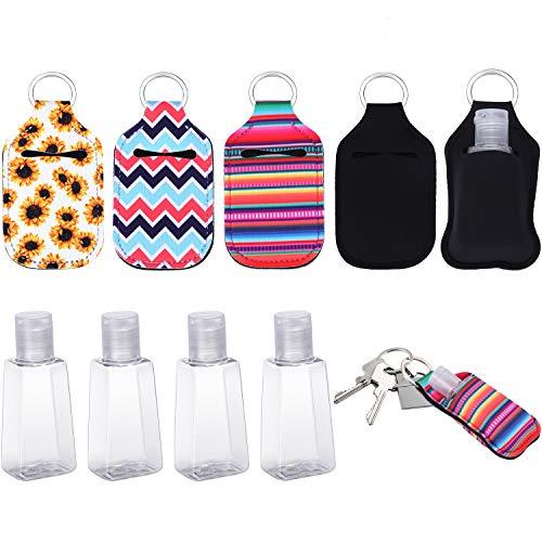 4 Piezas Fundas de Llavero de Botella Recargable de Viaje y 4 Piezas Botellas Reutilizables con Tapa Abatible Botellas de Plástico Vacías para Uso Portátil Adulto