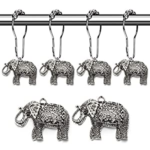Aitian Elephant Shower Curtain Hooks Rings - Animal Pendant Accessories Set,Tropical Forest,Nature,Farm,Woodland,Floral,Mountain,Country,Outdoor,Park,Garden,Idyllic Modern Theme Bathroom Decor,12PCS