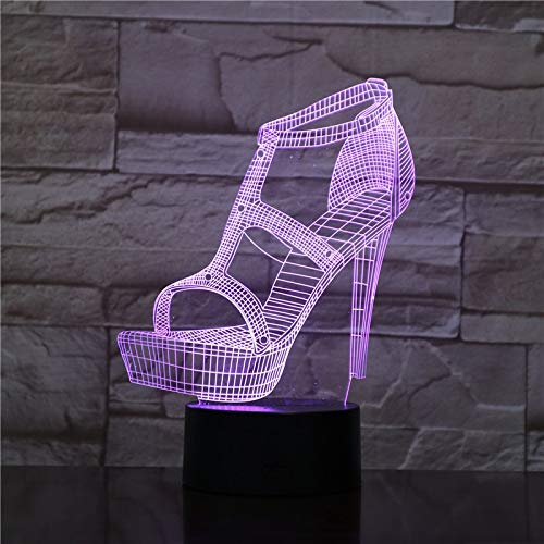 Nur 1 Stück Damen High Heels Schuhe 3D Led Nachtlicht Atmosphäre Tischlampe Nachttisch Freundin Geburtstagsgeschenke Lampe Dekorative Lichter