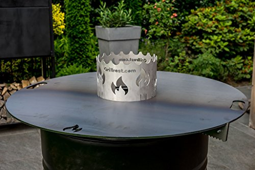 Grillrost.com Das Original Feuerplatte 80 & 100cm und Zubehör für Feuertonnen und Kugelgrills, Größe:Wokaufsatz Ø20 cm