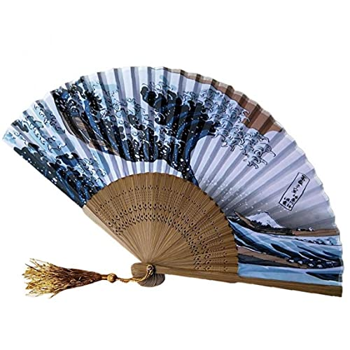 Onsinic Los Aficionados del Ventilador Plegable De Bambú De Mano Arte del Refrigerador Portátil Plegable Impresión De La Mano De Época De Verano Held Fan