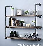 Industrial Retro Wall Mount iron Pipe Shelf,DIY Open Bookshelf,Hung...